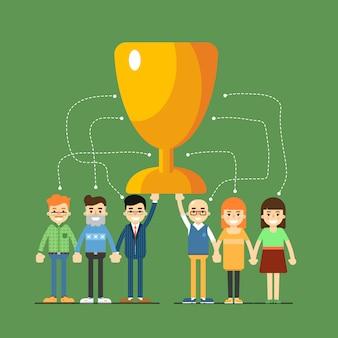 Ilustracja sieci społecznej i pracy zespołowej
