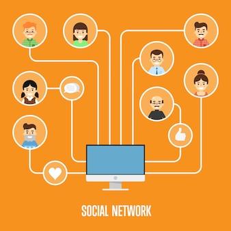 Ilustracja sieci społecznej z połączonych ludzi