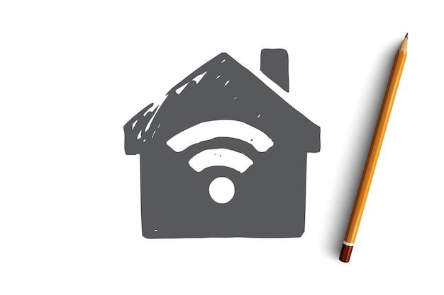 Ilustracja sieci web połączenia internetowego wi-fi