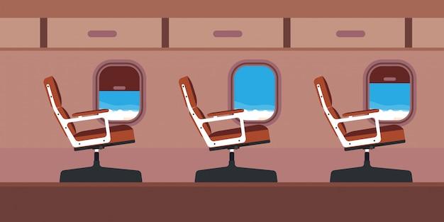 Ilustracja siedzenia pasażera samolotu kabiny. błękitny podróż samolotu kreskówki wnętrza strumień z okno.