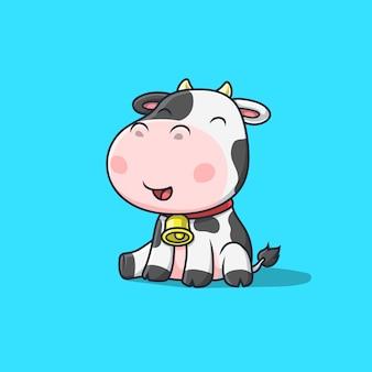 Ilustracja siedzi ładny krowa