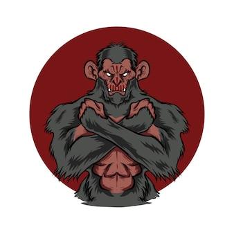 Ilustracja silnych ramion krzyżowych małpy