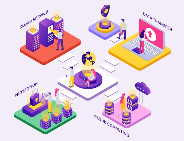 Ilustracja skład izometryczny koncepcji centrum danych