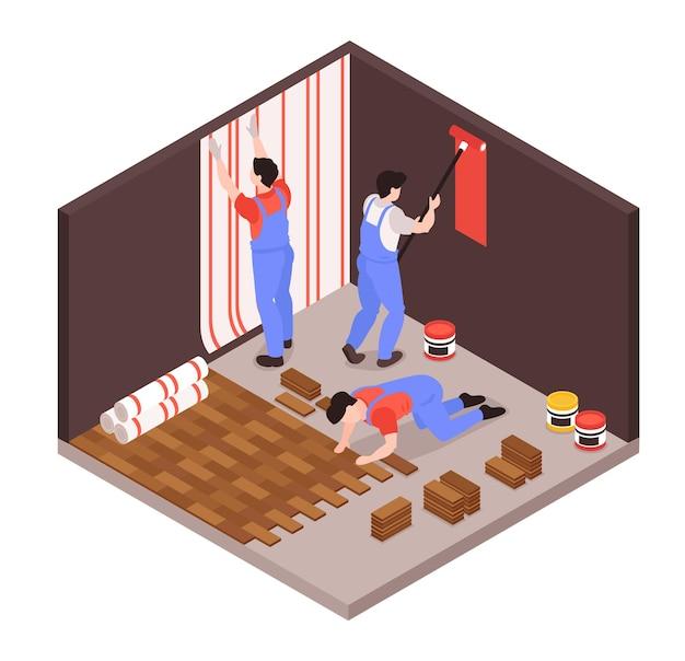 Ilustracja skład izometryczny remont domu naprawy usługi