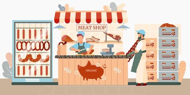 Ilustracja sklep kiełbasy
