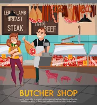 Ilustracja sklep mięsny