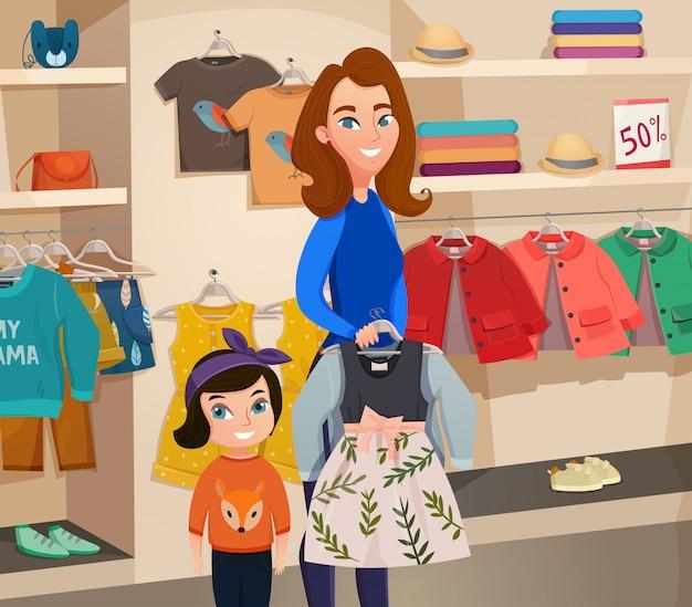 Ilustracja sklep odzieżowy dla dzieci