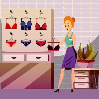 Ilustracja sklep odzieżowy skromność