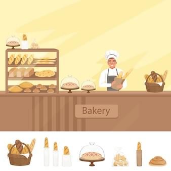 Ilustracja sklep piekarnia z piekarzem obok gabloty z wypiekami.