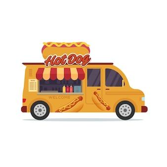Ilustracja sklep z hot dogami pojazdu ciężarówki żywności