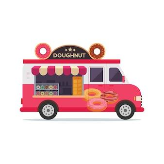 Ilustracja sklep z pączkami pojazdu ciężarówki żywności