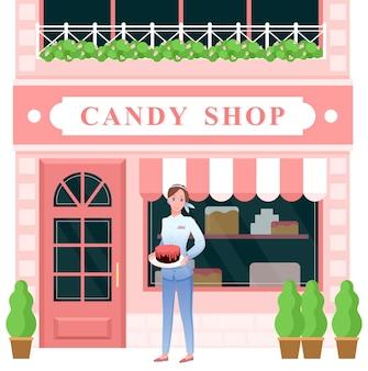 Ilustracja sklep ze słodyczami.