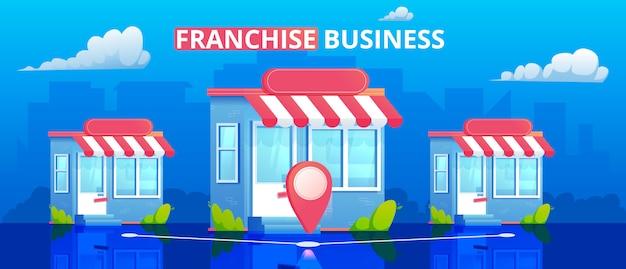 Ilustracja sklepów franczyzowych. sieć marketingowa. minimalny płaski sztandar z budynkiem i miastem w tle