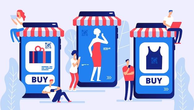 Ilustracja sklepu internetowego i klientów