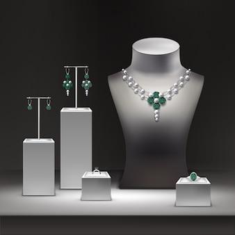 Ilustracja sklepu jubilerskiego i zestaw biżuterii na wyświetlaczu w gablocie