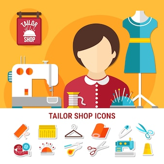 Ilustracja sklepu krawieckiego