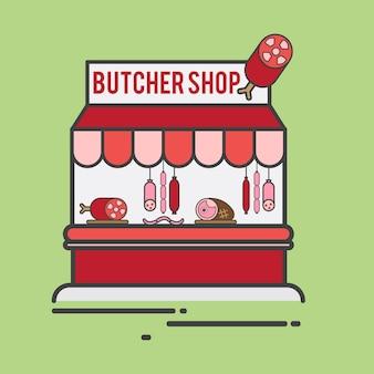 Ilustracja sklepu mięsnego