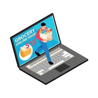 Ilustracja sklepu spożywczego online z izometrycznym laptopem i postacią niosącą towary w papierowych torbach