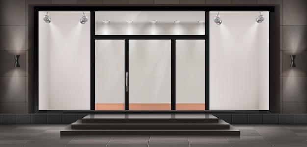 Ilustracja sklepu ze schodami i drzwiami wejściowymi, szklana iluminowana prezentacja