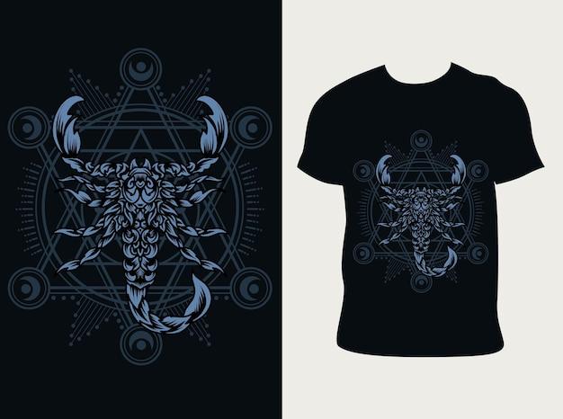 Ilustracja skorpion zodiaku z projektem koszulki