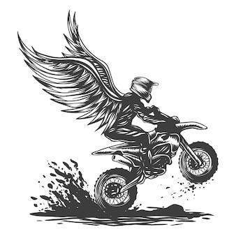 Ilustracja skrzydła motocross