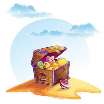 Ilustracja skrzynia skarbów