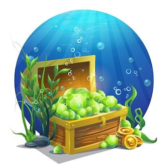 Ilustracja skrzynia ze szmaragdami