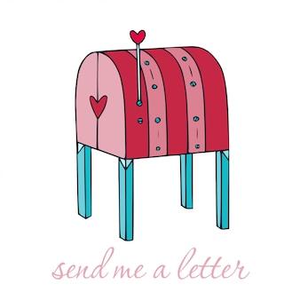 Ilustracja skrzynki pocztowej kreskówki. dostarczanie poczty ręcznie.
