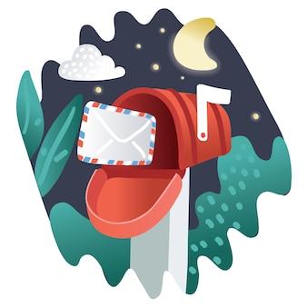 Ilustracja skrzynki pocztowej w stylu płaski