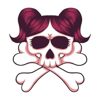 Ilustracja skrzyżowane kości czaszki dziewczyna