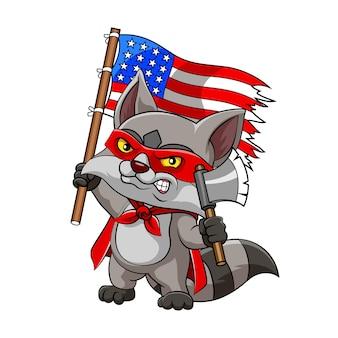 Ilustracja skunksa z czerwoną maską i szatą trzyma topór i flagę