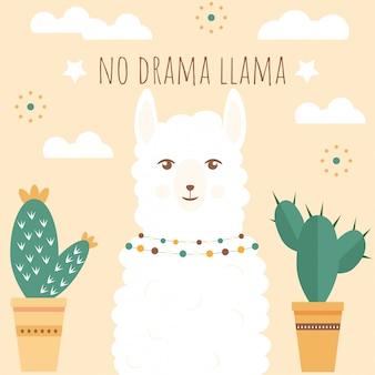 Ilustracja śliczna biała lama