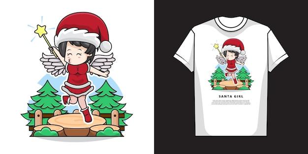 Ilustracja śliczna dziewczyna ubrana w kostium świętego mikołaja i anioła z projektem koszulki