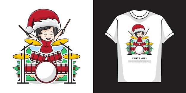 Ilustracja śliczna dziewczyna ubrana w kostium świętego mikołaja i gra na perkusji z projektem koszulki