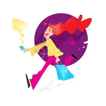 Ilustracja śliczna dziewczyna z zakupy