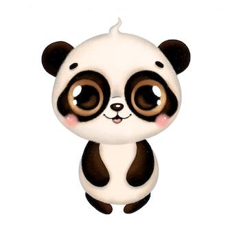 Ilustracja śliczna kreskówki dziecka panda odizolowywająca