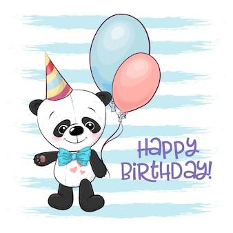 Ilustracja śliczna kreskówki panda z balonami