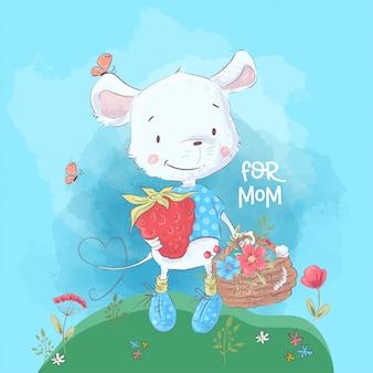 Ilustracja śliczna mała mysz i kwiaty. styl kreskówki. wektor