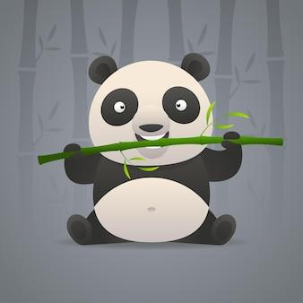 Ilustracja, śliczna panda gryzie bambus, format eps 10