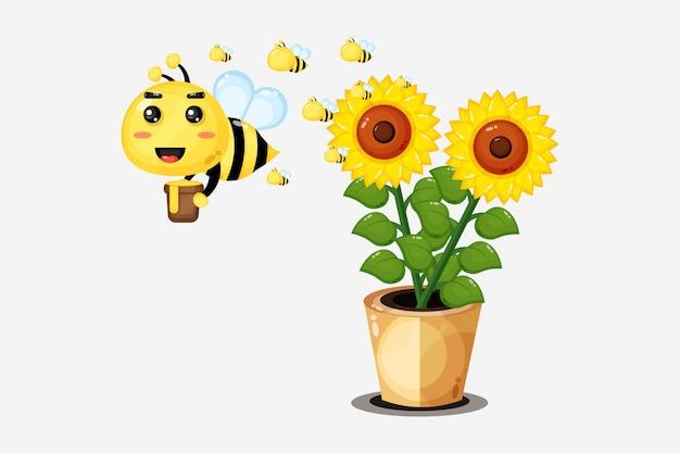 Ilustracja śliczna pszczoła niesie miód