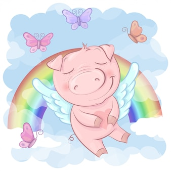 Ilustracja śliczna świniowata kreskówka na tęczy. wektor