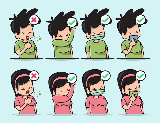 Ilustracja ślicznego chłopca i dziewczyny z właściwym sposobem zakrycia ust, gdy kaszlesz lub kichasz