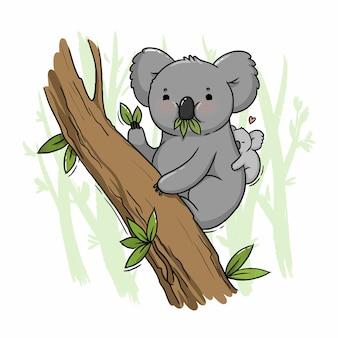 Ilustracja ślicznej koali na drzewie z młodym