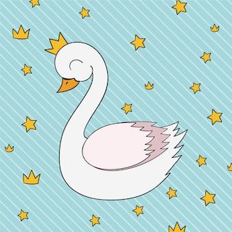 Ilustracja śliczny biały łabędzi princess
