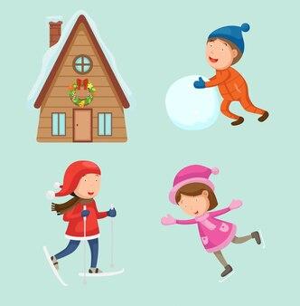 Ilustracja śliczny dzieci bawić się