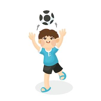 Ilustracja śliczny dziecko bawić się nożną piłkę z szczęśliwą twarzą