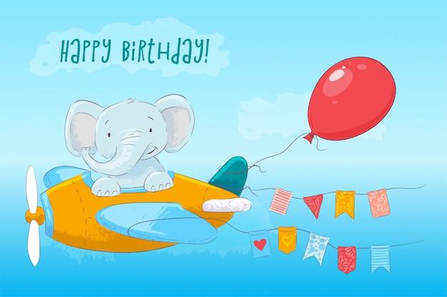 Ilustracja śliczny dziecko słonia latanie na samolocie. styl kreskówki. wektor