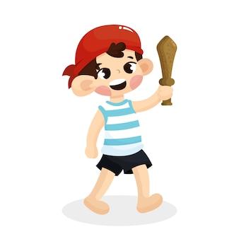 Ilustracja śliczny dziecko z pirata kostiumem z kreskówka stylem