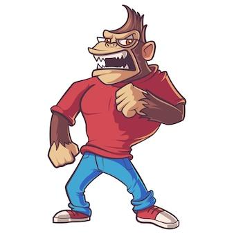 Ilustracja śliczny goryl z brown włosami.