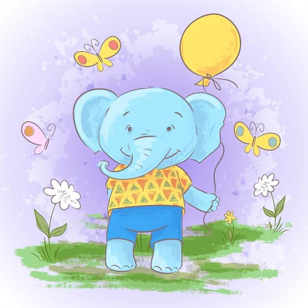 Ilustracja śliczny kreskówki dziecka słoń z balonem.